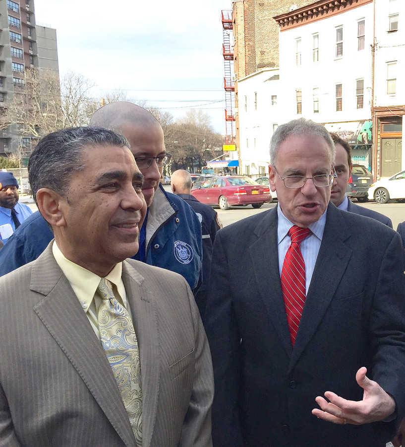 U.S. Rep. Adriano Espaillat, left, Assemblyman Jeffrey Dinowitz, center, and state Senator Jeffrey Klein joined the rally on Feb. 8.