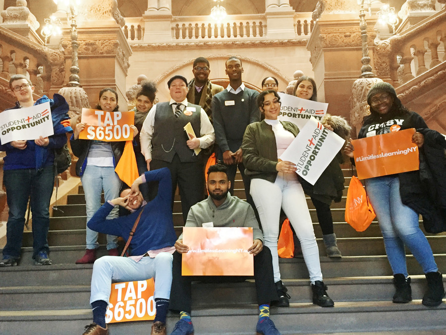 College of Mount Saint Vincent students pose for a camera in Albany, where they traveled on Feb. 14 to meet with state lawmakers and advocate for increases in student aid.
