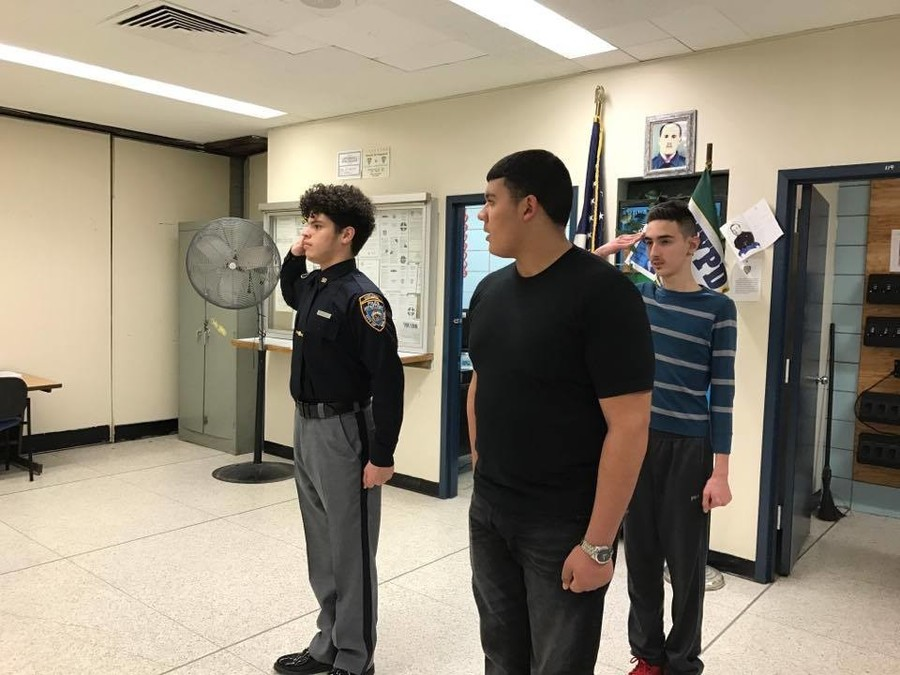 Members of Police Explorers Post 2050 practiced marching drills during a meeting on Feb. 8.