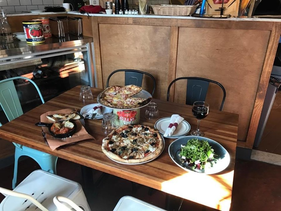 Chef and part owner Tom Giudice cooks pizzas, sandwiches and more using homemade, locally purchased ingredients.