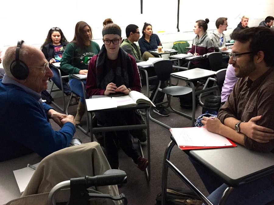RiverWalk resident Charles Brunswick takes part in a group discussion with his classmates at the College of Mount Saint Vincent. He is part of a pilot program between the Hebrew Home at Riverdale and the Mount where seniors citizens can audit a course at the Mount.