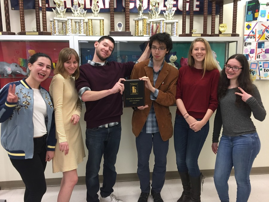 The High School of American Studies debate team is all smiles after two seniors won first place in the New York City Urban Debate League. Two freshmen won the state championship in the novice league April 1.