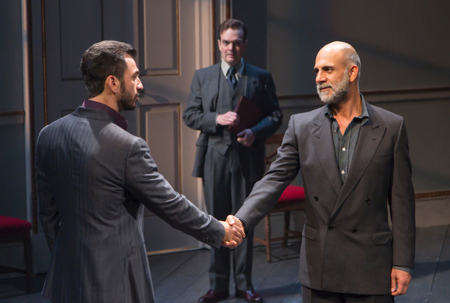 Michael Aronov, Jefferson Mays and Anthony Azizi bring 'Oslo' to life at the Vivian Beaumont Theater in Manhattan through June 18.
