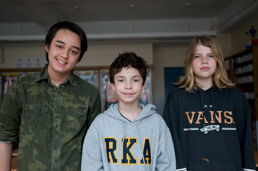 Jackson Van Horn, left, William Salleres and Sophia Kline won the recent student film festival at Riverdale/Kingsbridge Academy. The festival was a first for the school and a new tradition it plans to continue.