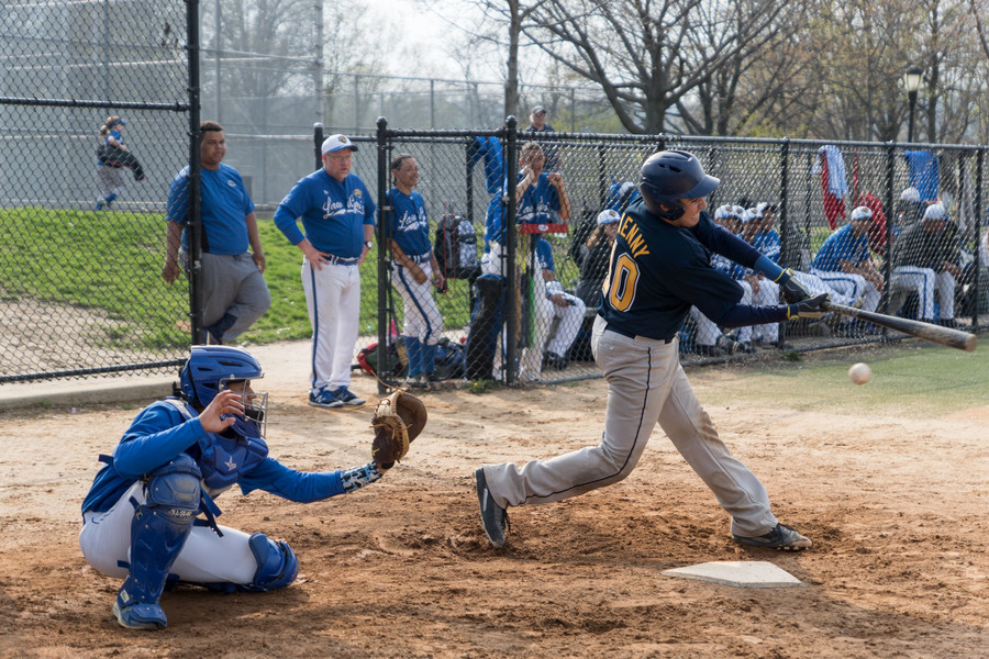 RKA catcher Josh Kenny swings and misses. Kenny and the rest of the RKA offense couldn't get untracked last week as the Tigers dropped a 4-2 decision to Roosevelt after seeing their game against Bronx Law & Government suspended at 4-4 after five innings.