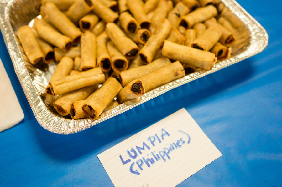 Lumpia, a Filipino dish, is one of the many international offerings at P.S. 81's annual international dinner and raffle. Parent and P.S. 81 graduate Reinalyn Rosario made the dish to celebrate her Filipino culture.