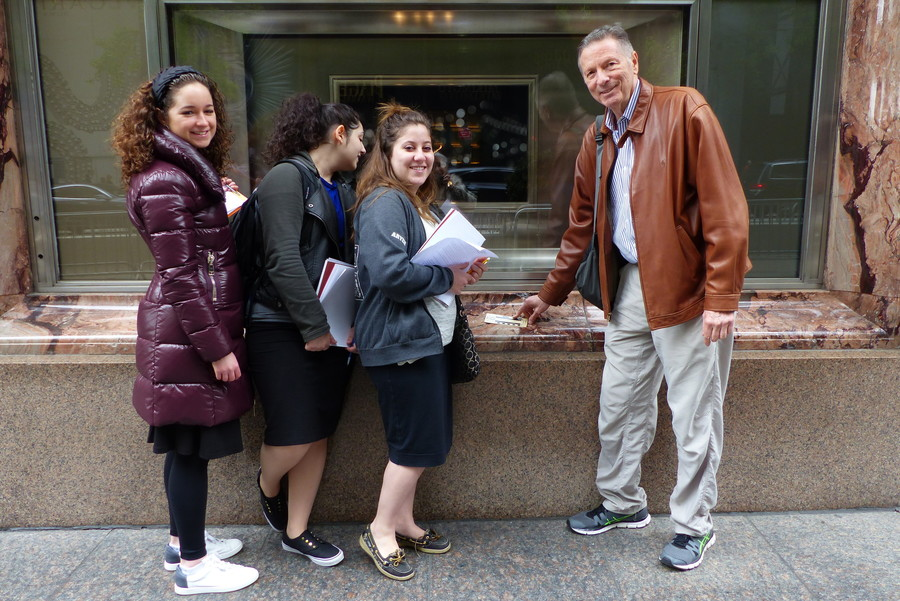 Touro College professor Howard R. Feldman shows his class the stone around the window Tiffany & Co., in Manhattan during a geology tour.