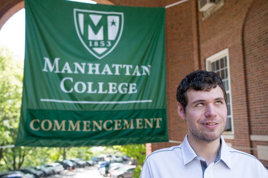 John Evans, a published writer and poet who happens to be blind, is the recipient of Manhattan College's Carty Valedictory Medal. He addressed his graduating class during a commencement ceremony at the school last week.