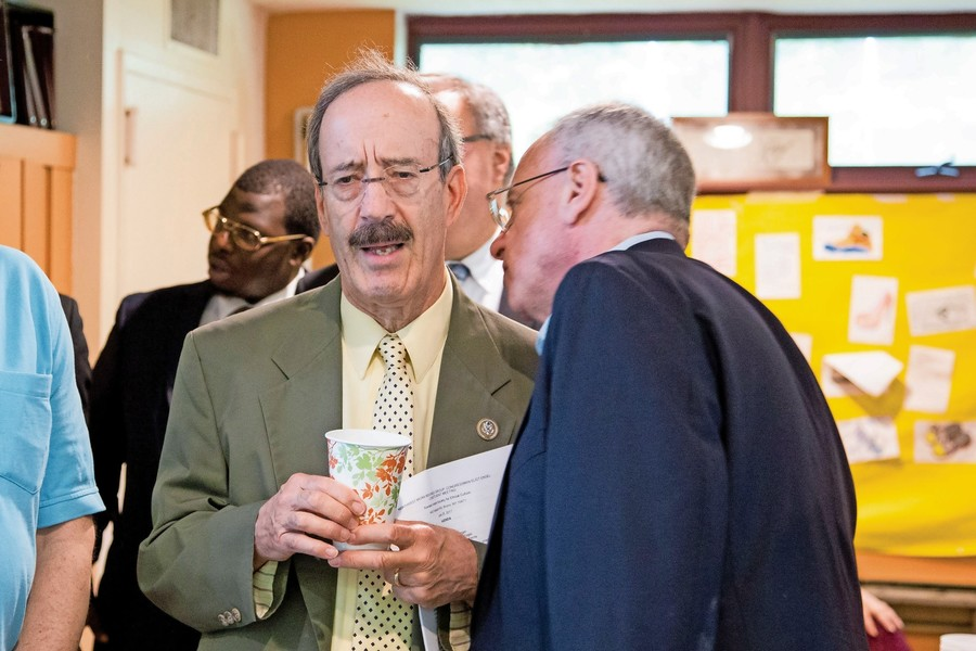 Rep. Jeffrey Dinowitz talks with U.S. Rep. Eliot Engel at an event co-hosted by Northwest Bronx Indivisible. Dinowitz described the end of the 2017-18 legislative session as 'disappointing' as the chambers did not come to a deal on mayoral control of schools.