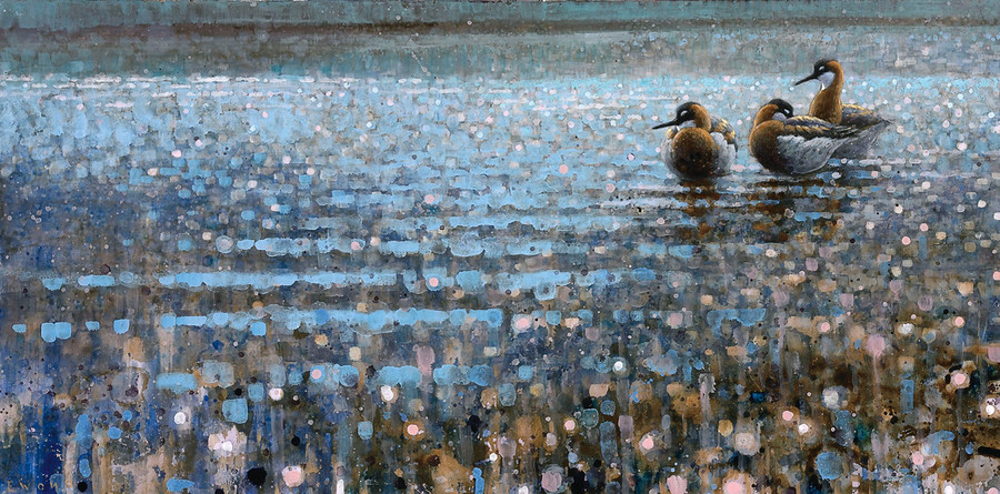 Ewoud de Groot's 2008 painting 'Phalaropes' is an oil- on-linen work. The Newington-Cropsey Foundation's 'Shoreline Symphony' exhibition features 45 works of art, with the artists coming from 10 different countries.
