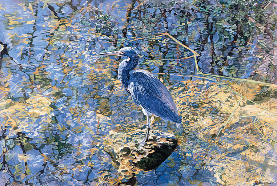 Mary Louise O'Sullivan's Tricolor Heron – Everglades, 2002 is an oil-on-linen.