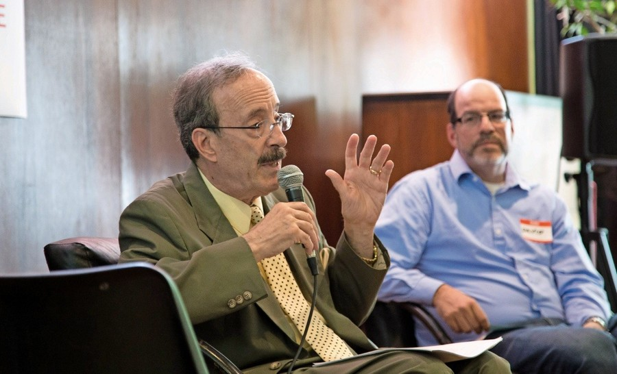 U.S. Rep. Eliot Engel addresses a Sunday afternoon crowd organized by the Northwest Bronx Indivisible group at the Riverdale-Yonkers Society for Ethical Culture.