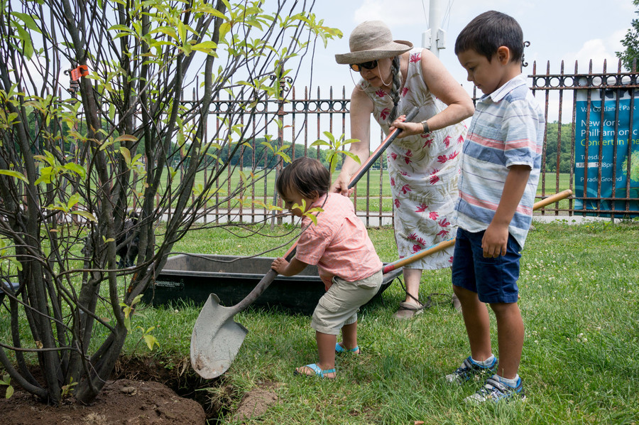 Descendants of the Van Cortlandt family gather to plant a tree in honor of their recently deceased family member Cortlandt Shurtleff at the Van Cortlandt House Museum in the park.
