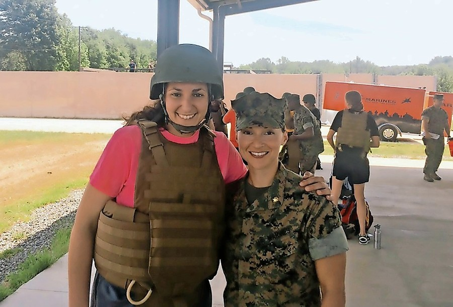 Manhattan assistant basketball coach Sahar Nusseibeh recently spent some time with the U.S. Marines, learning leadership skills and immersing herself in the daily life of a soldier.