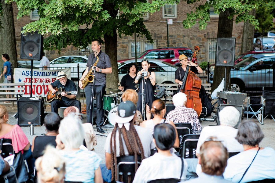 Jazz group Ginetta's Vendetta plays new arrangements of classic tunes at the Amalgamated Train Park as part of a series of concerts organized by Assemblyman Jeffrey Dinowitz and the Bronx Council on the Arts. The series runs through Aug. 23.