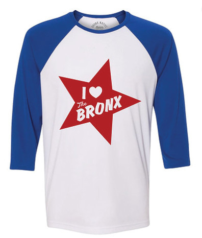 The 'I Love the Bronx' baseball T-shirt is a classic favorite, based on Bronx hip-hop and history.