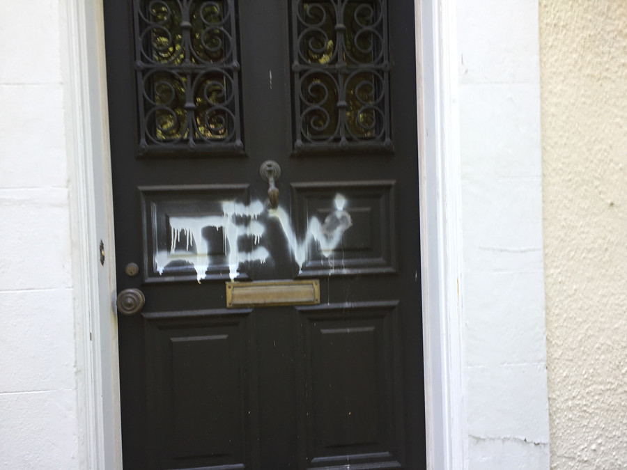 The residents of 326 W. 246th St., awoke to what neighbors described as a horrific sight Sunday morning, discovered anti-Semitic vandals had spray-painted the word 'Jew' on the front door of their Fieldston home.