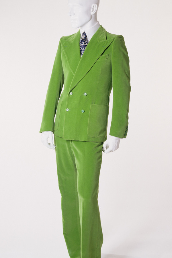This brightly colored suit created by French designer Yves Saint Laurent circa 1972 is one of the 95 items currently on display at the 'Force of Nature' exhibition at The Museum at Fashion Institute of Technology.