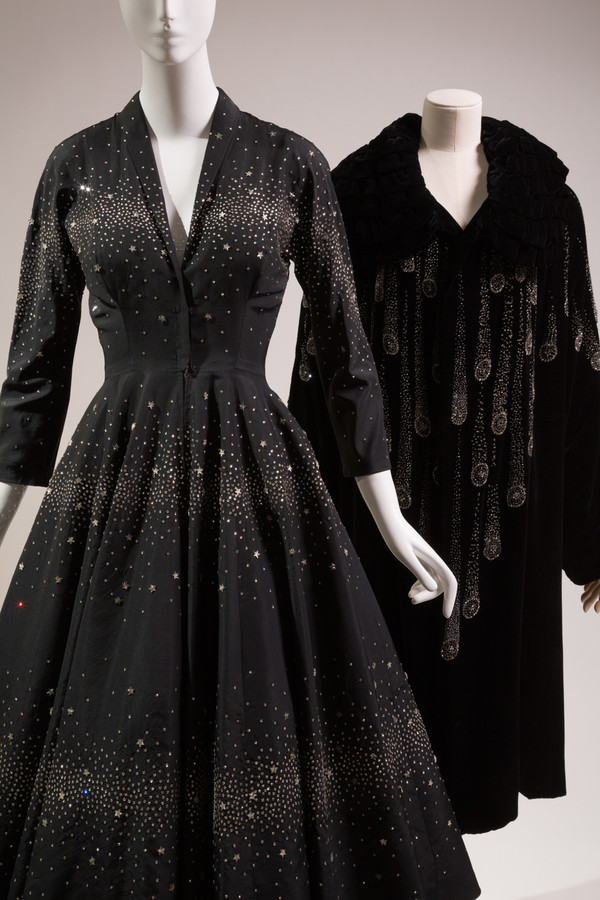 This cocktail dress and evening coat are currently on display at the 'Force of Nature' exhibition at The Museum at FIT. The 1953 garment came from the department store Saks Fifth Avenue, while the coat came from France in the 1920s.