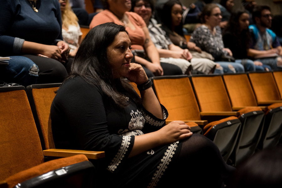 Suzette Ramsundar, Lehman College's campus life associate director, attends a DACA information session at Lehman College. She says one of the main concerns of the school is students renewing their DACA application and paying the fees.