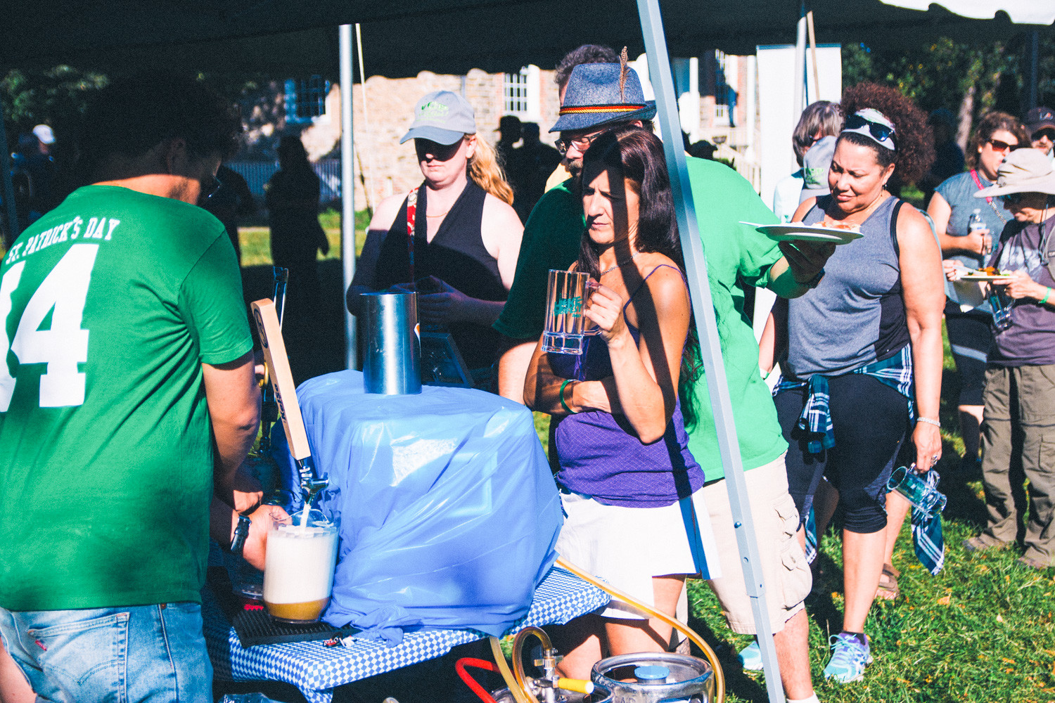 As the name suggests, beer was a focal point of Hike-toberfest 2017's festivities. Here, a group of hikers wait to be served locally brewed beer by employees from the Bronx Beer Hall.