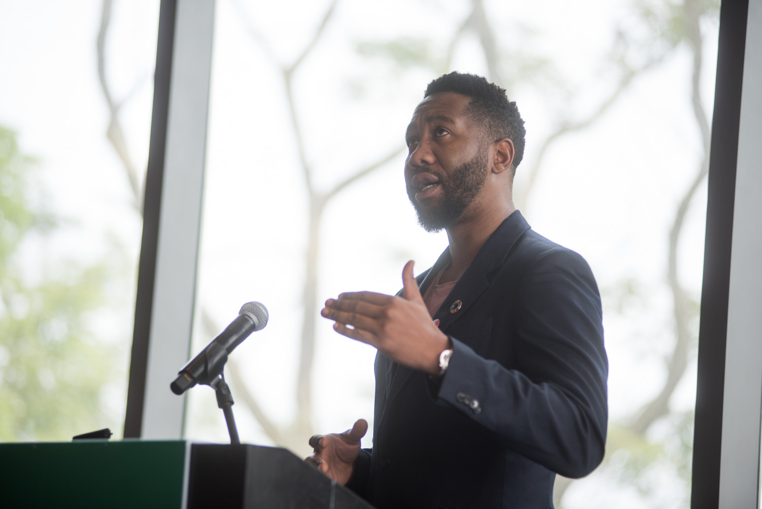 Ndaba Mandela, the grandson of Nelson Mandela, speaks about his experiences at Manhattan College.