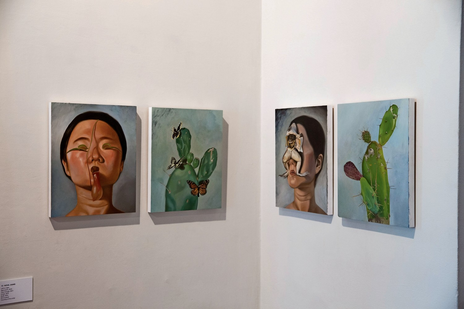 A series of four paintings by artist Nova Jiang are exhibited in the Glyndor Gallery at Wave Hill. The current show, 'Call & Response,' celebrates the 10th anniversary of the Sunroom Project Space where emerging artists in the New York area get a chance to explore Wave Hill through their work.
