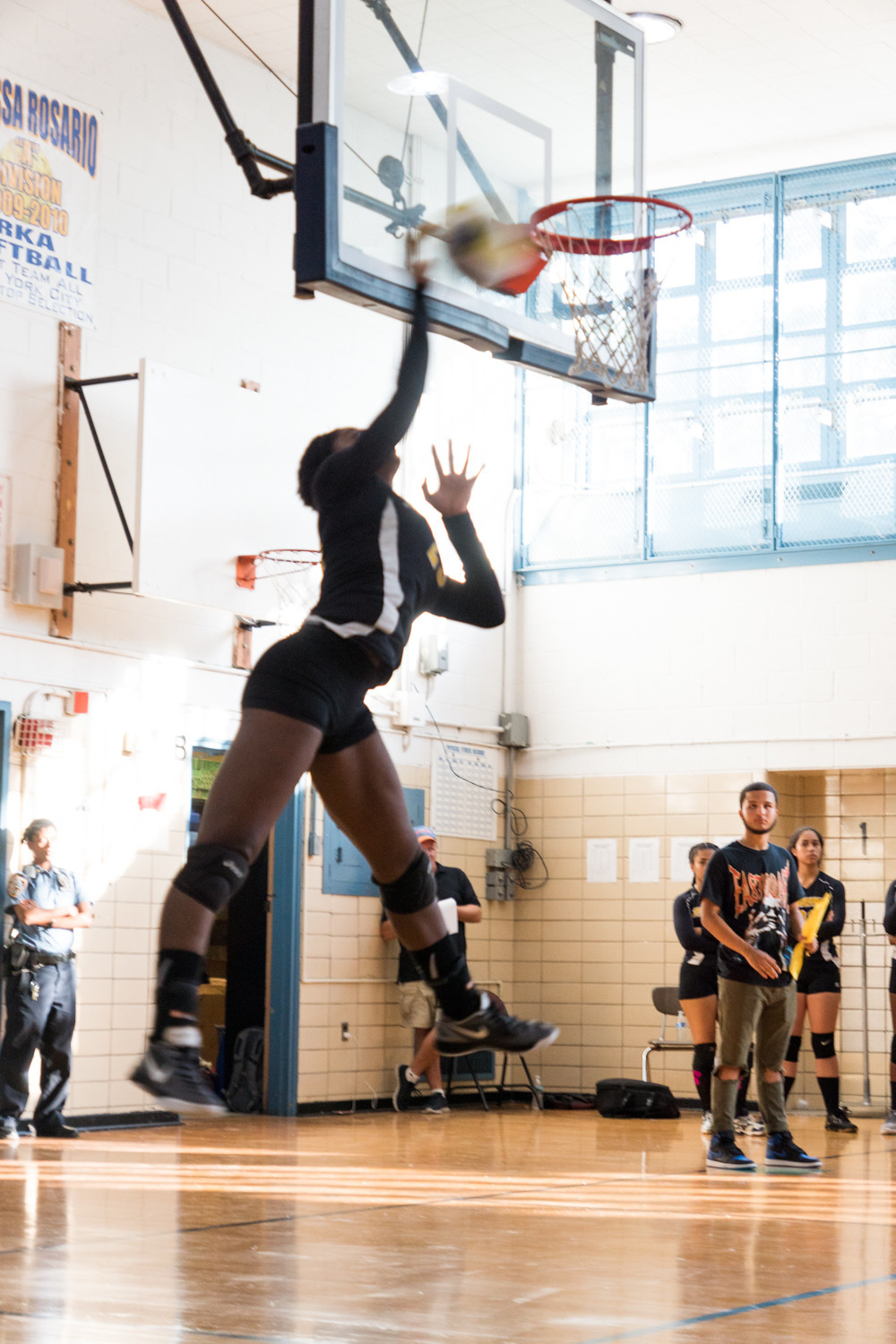 Riverdale/Kingsbridge Academy's Sommer Code, shown here working her volleyball magic versus Dodge, registered eight kills in the Lady Tigers' season-opening victory over the Panthers.