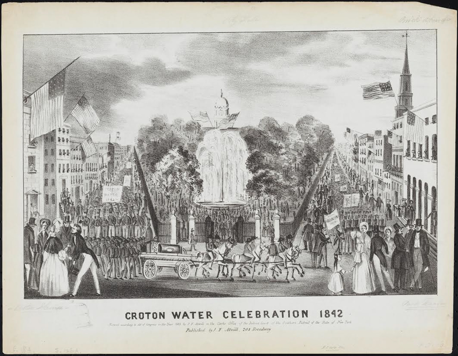 The Croton Aqueduct opened to great fanfare and a parade in 1842, bringing fresh water to New York City for the first time, says Susan Johnson, senior curatorial associate at The Museum of the City of New York.