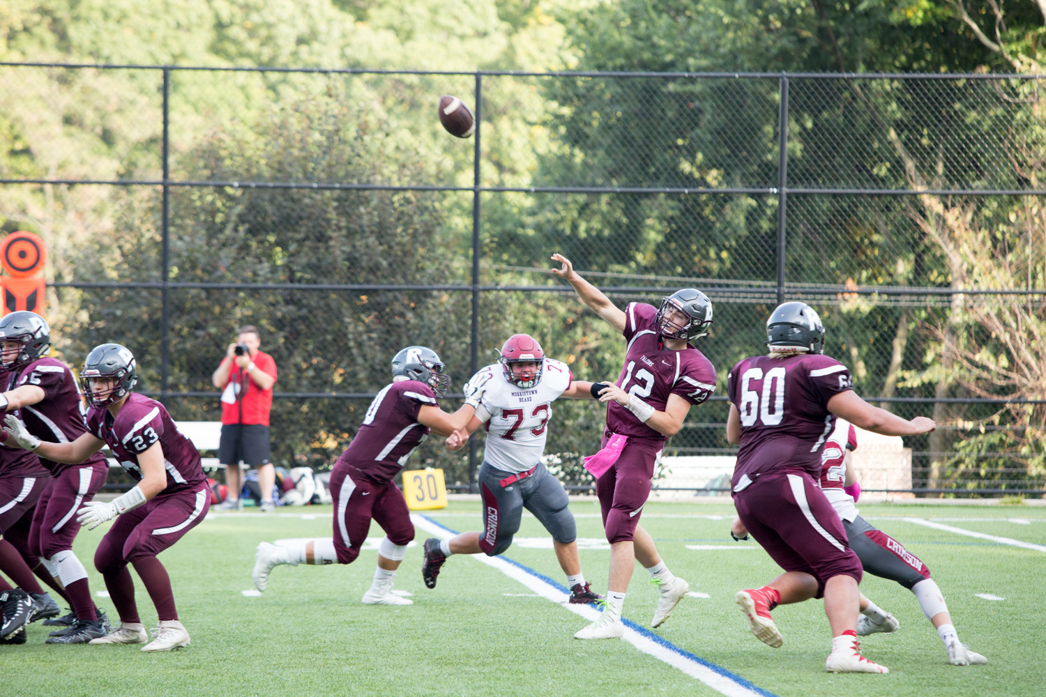 Riverdale quarterback Ryan Rosenzweig led the Falcons to an explosive offensive day versus Morristown Beard last Saturday. Unfortunately for the Falcons, the Crimson offense was just a little better in a one-point loss for Riverdale.
