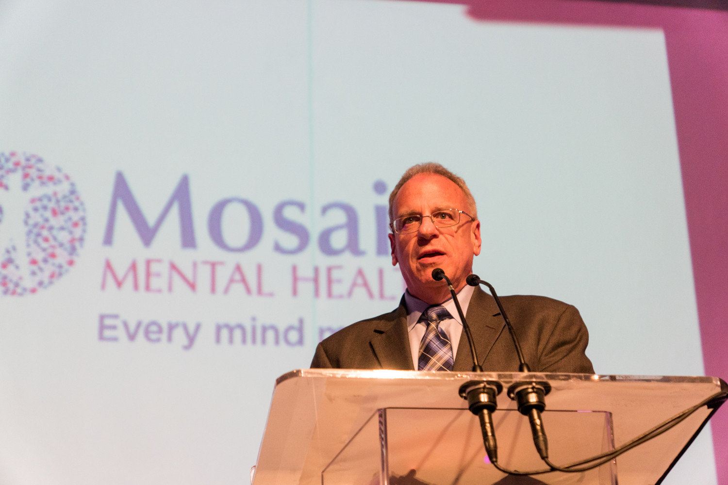 Assemblyman Jeffrey Dinowitz speaks about the importance of mental health at a gala celebrating Mosaic Mental Health's rebranding. The new name reflects its wide range of service and communities beyond Riverdale.