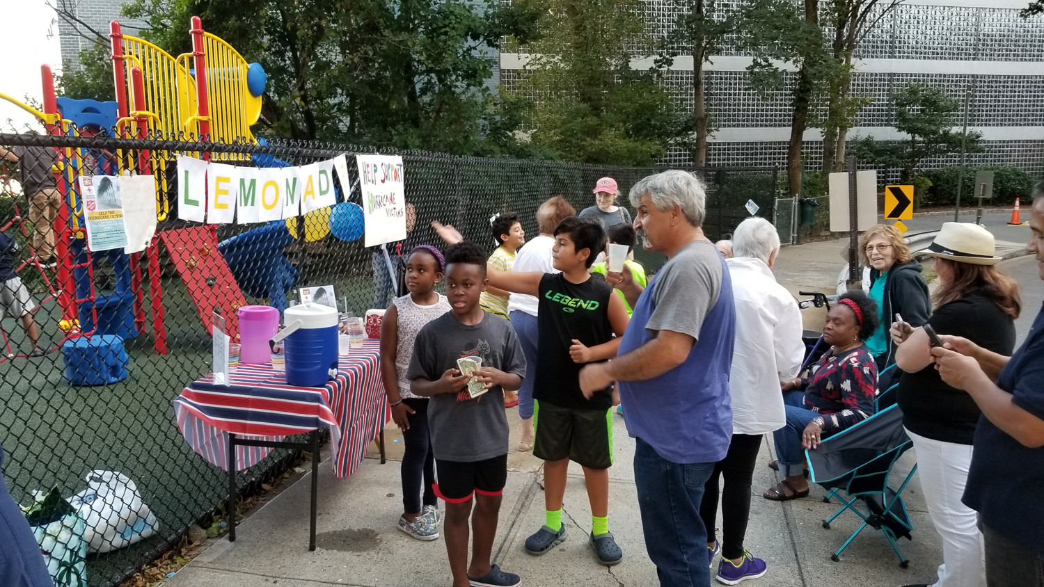 Children from the Winston Churchill apartments ran a successful lemonade stand, raising approximately $500 in two days for relief efforts for those affected by Hurricane Maria. The children used the money to purchase items like baby formula and diapers.