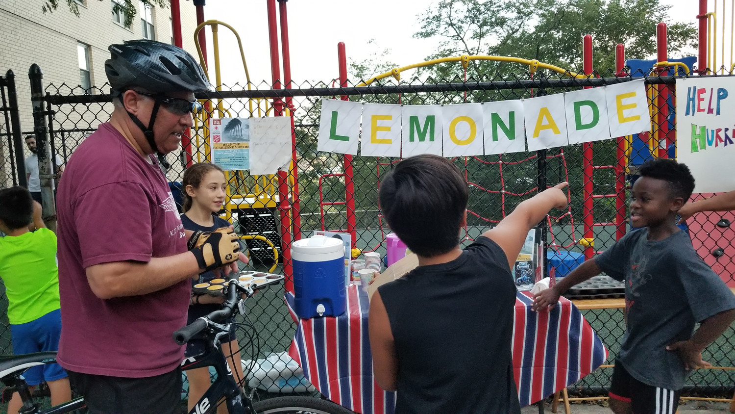 The money earned from the lemonade stand go toward relief efforts in Puerto Rico in the aftermath of the destruction caused by Hurricane Maria, says Ivan Alexander Laca Jara, co-founder of the stand. He asked his mother to make the lemonade using her 'secret' recipe, he says.