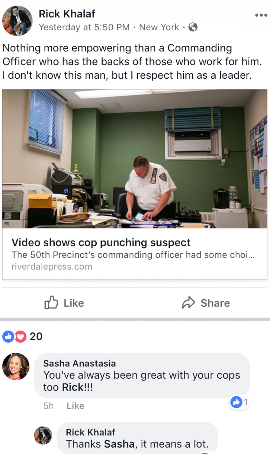 Police officers on social media, like Lt. Richard Khalaf, called 50th Precinct deputy inspector Terence O'Toole a leader who 'has the backs of those who work for him.'