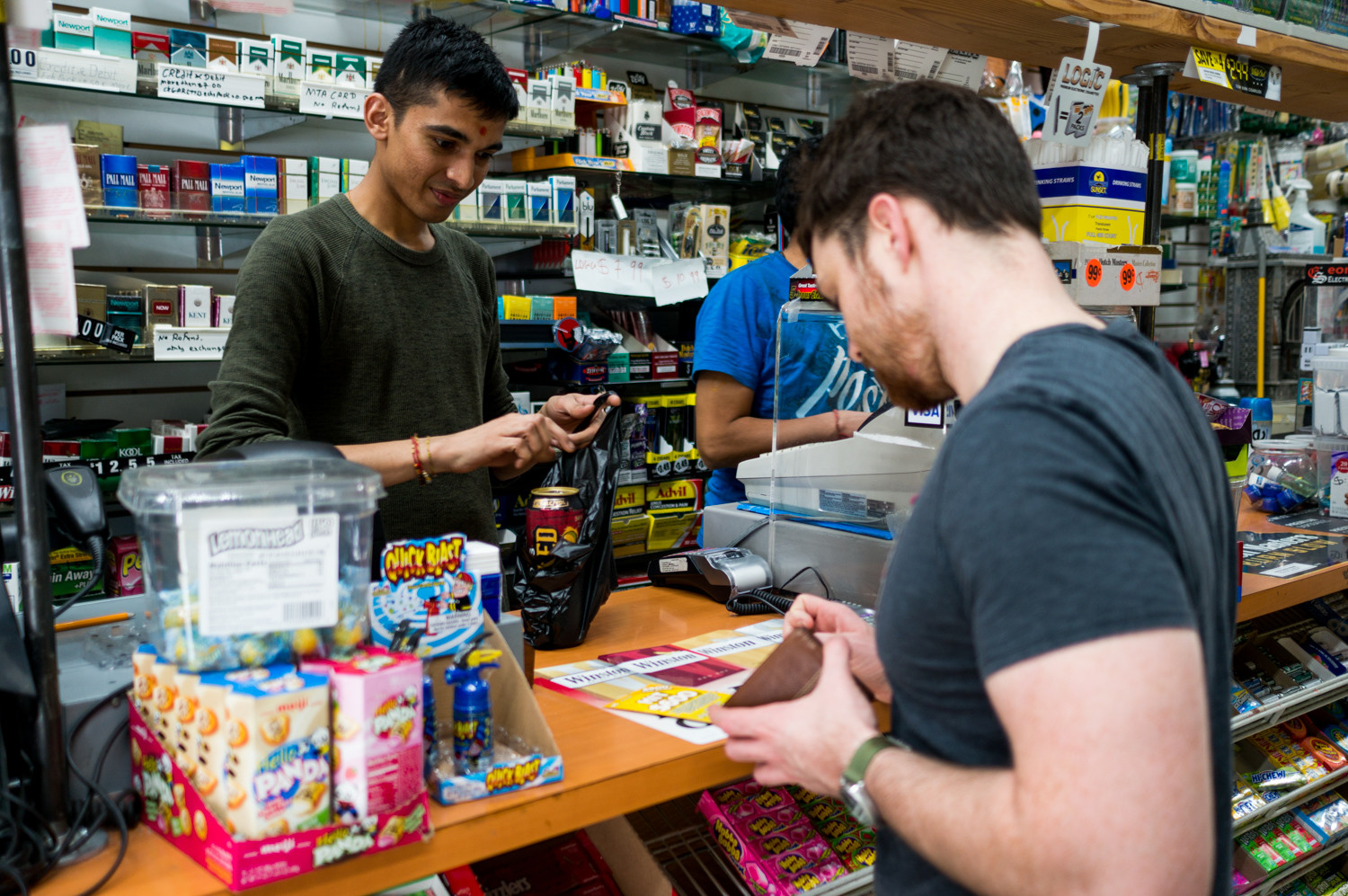 A customer purchases a lotto ticket at GNUP Sunil Corp., that has seen more than $1 million in winnings for players, but nothing for the store.