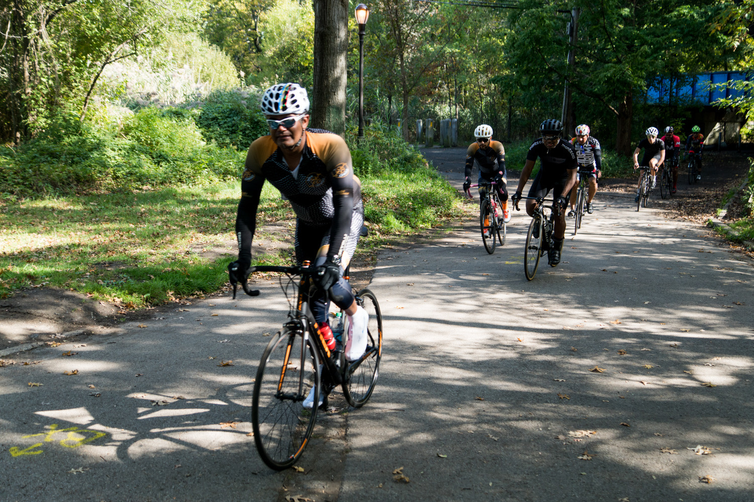 Cyclists in the Tour de Bronx work their way out of Van Cortlandt Park on the extended 40-mile route.