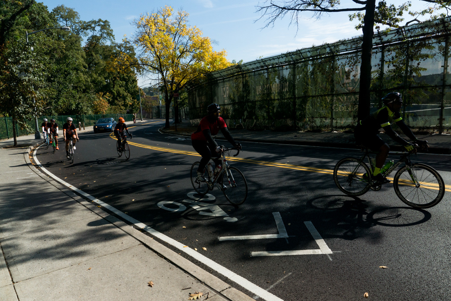 Cyclists make their way up the winding road of Manhattan College Parkway along the Tour de Bronx's extended 40-mile route.