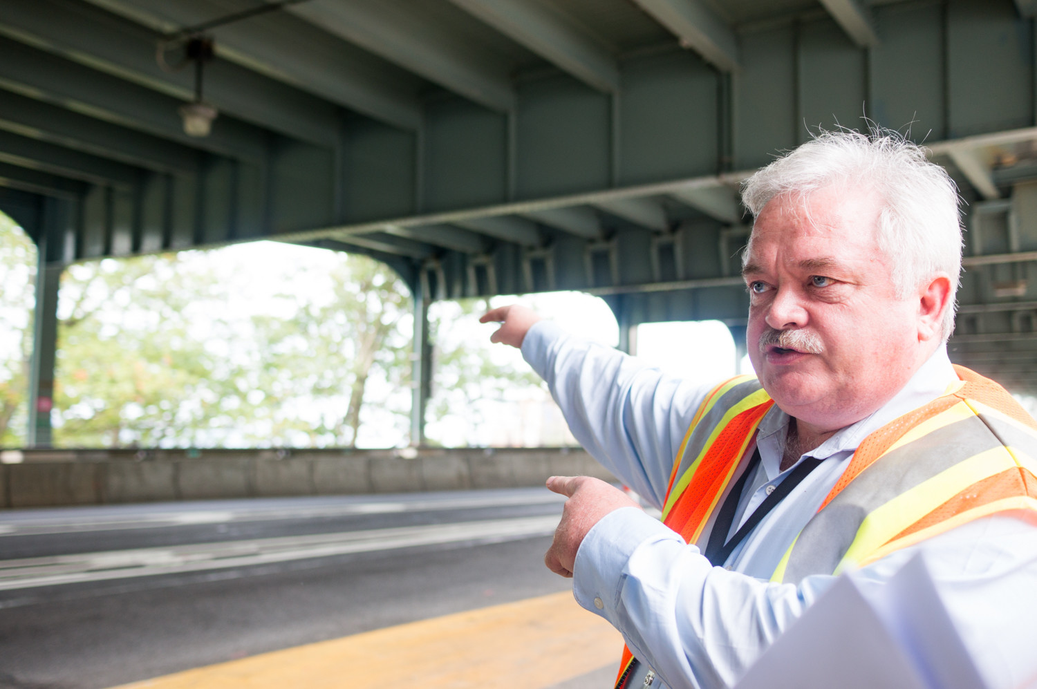 'I know how important the bridge is to the traveling public so I am motivated to make sure it is well maintained,' says William Neubauer, the Henry Hudson Bridge's facility engineer and lifelong Bronxite. As part of the rehabilitation work, one late at a time on the north and southbound levels will be closed as work is completed.
