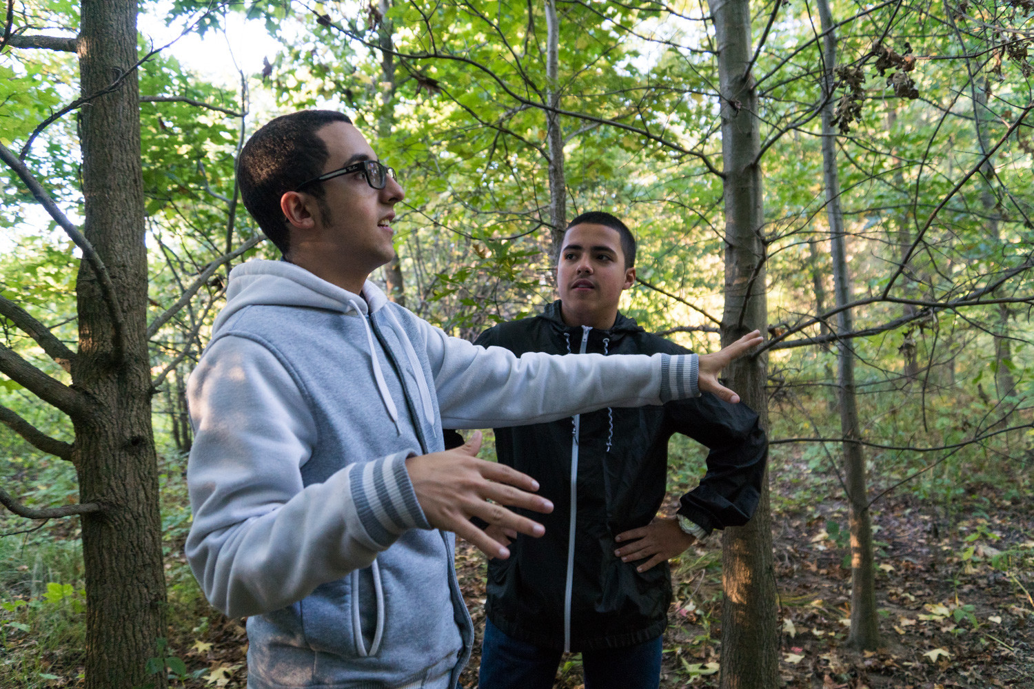 Enzo Ramirez, left, talks about the work he and his brother Omar did as interns in Van Cortlandt Park, which included, among other things, constructing birdhouses.