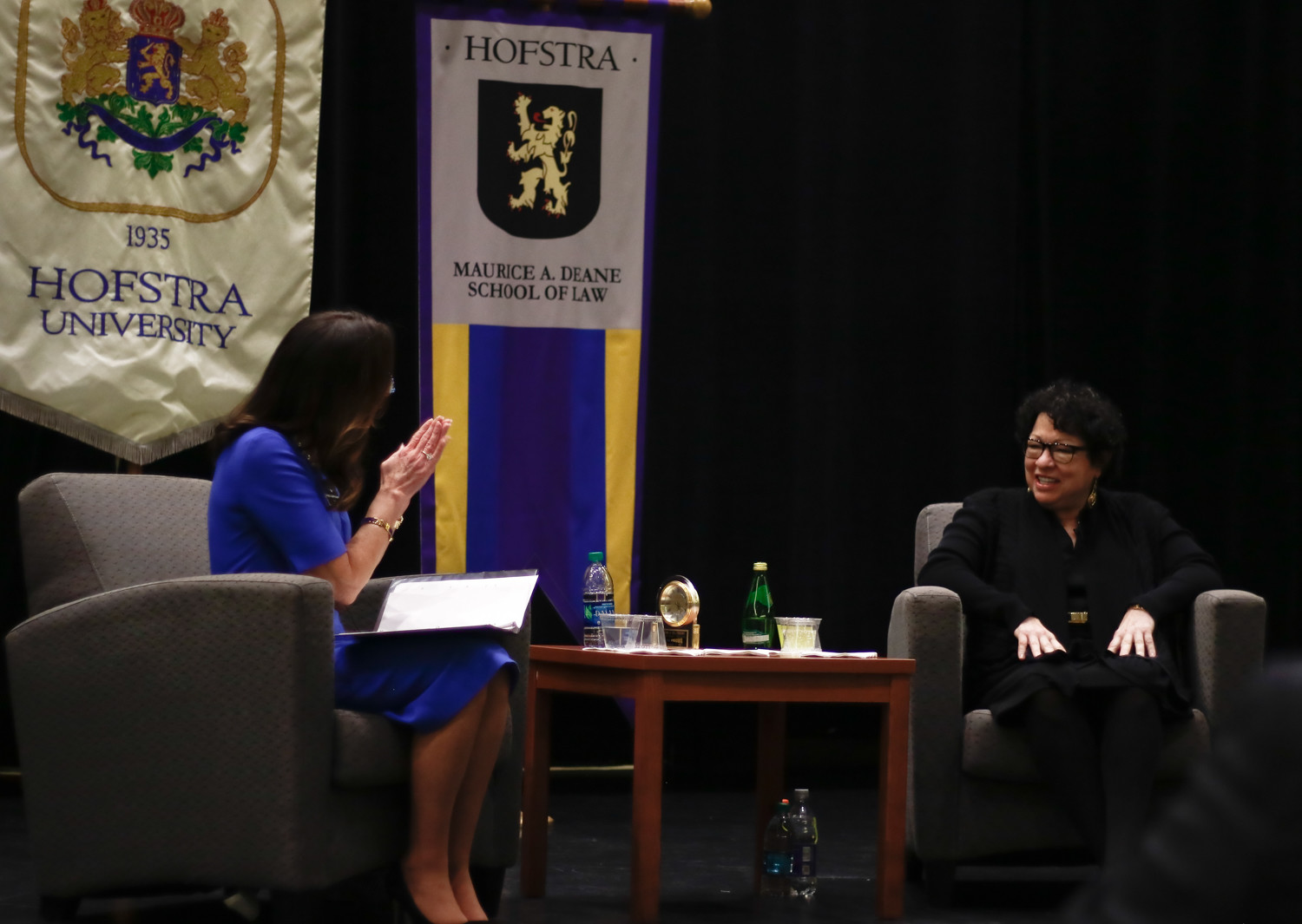Judge A. Gail Prudenti, Hofstra Law's dean, asked Sotomayor questions during the first half hour of Sotomayor's hour-long visit.