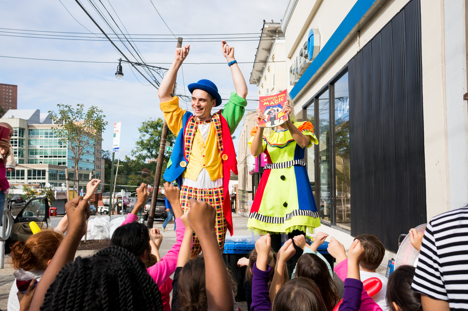 Addeo's Riverdale Pizza brought in clowns to entertain its youngest clientele during its customer appreciation day. The clowns introduce neighborhood kids to the 'Coloring Book of Magic.'
