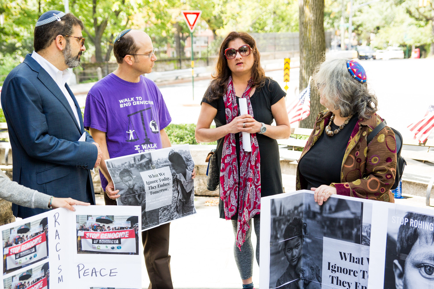 Mehnaz Afridi, a professor of religious studies at Manhattan College, talks about the crisis facing Rohingya in Myanmar at a rally in Riverdale in September. In the course of a month, over half a million Rohingya refugees fled to Bangladesh to escape persecution in their home country.