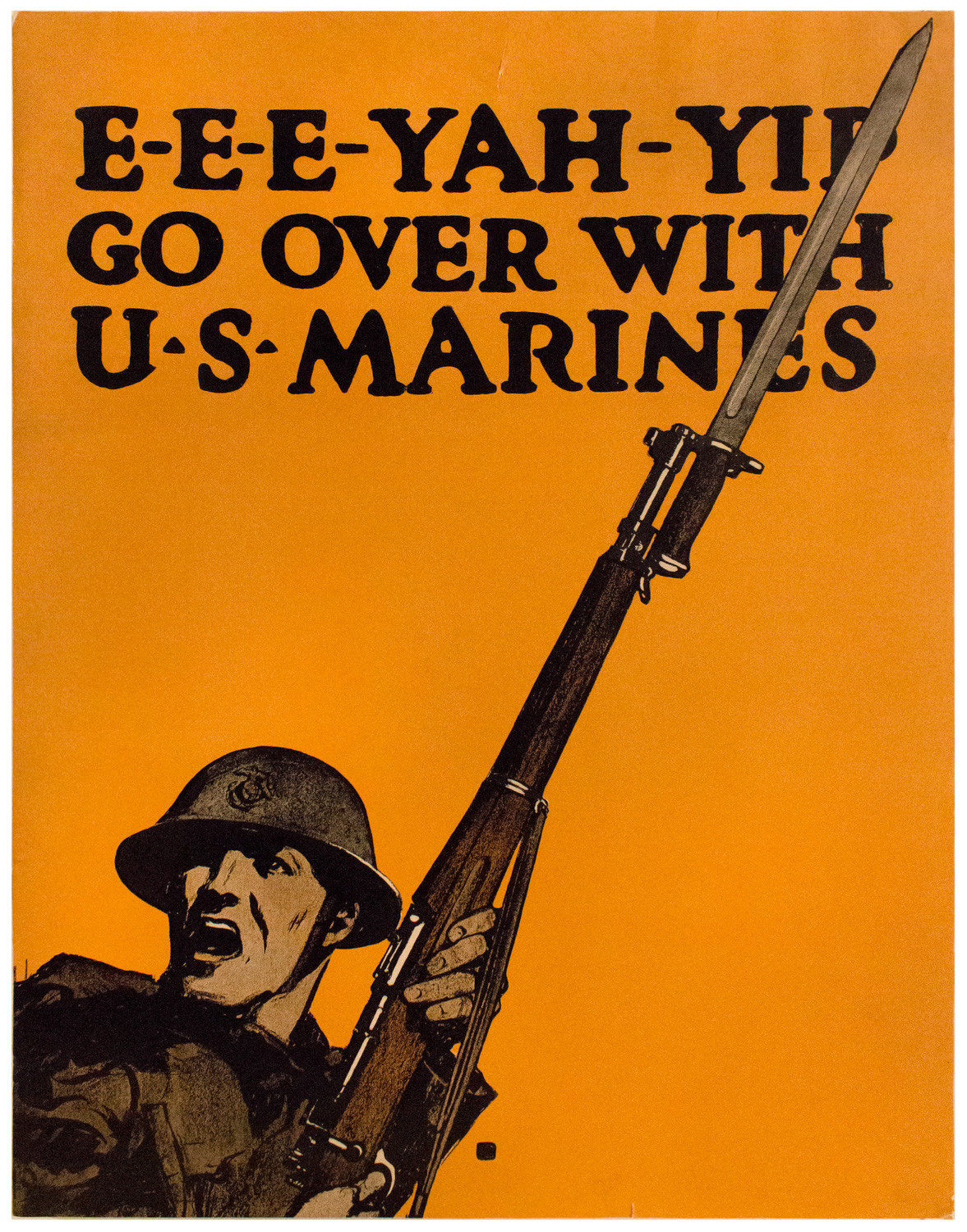 The United States started drafting eligible men between 21 and 30 to the armed forces in May 1917. In order to continue enlistment, Charles Buckles Falls' poster encouraged Americans there was a need for a draft.