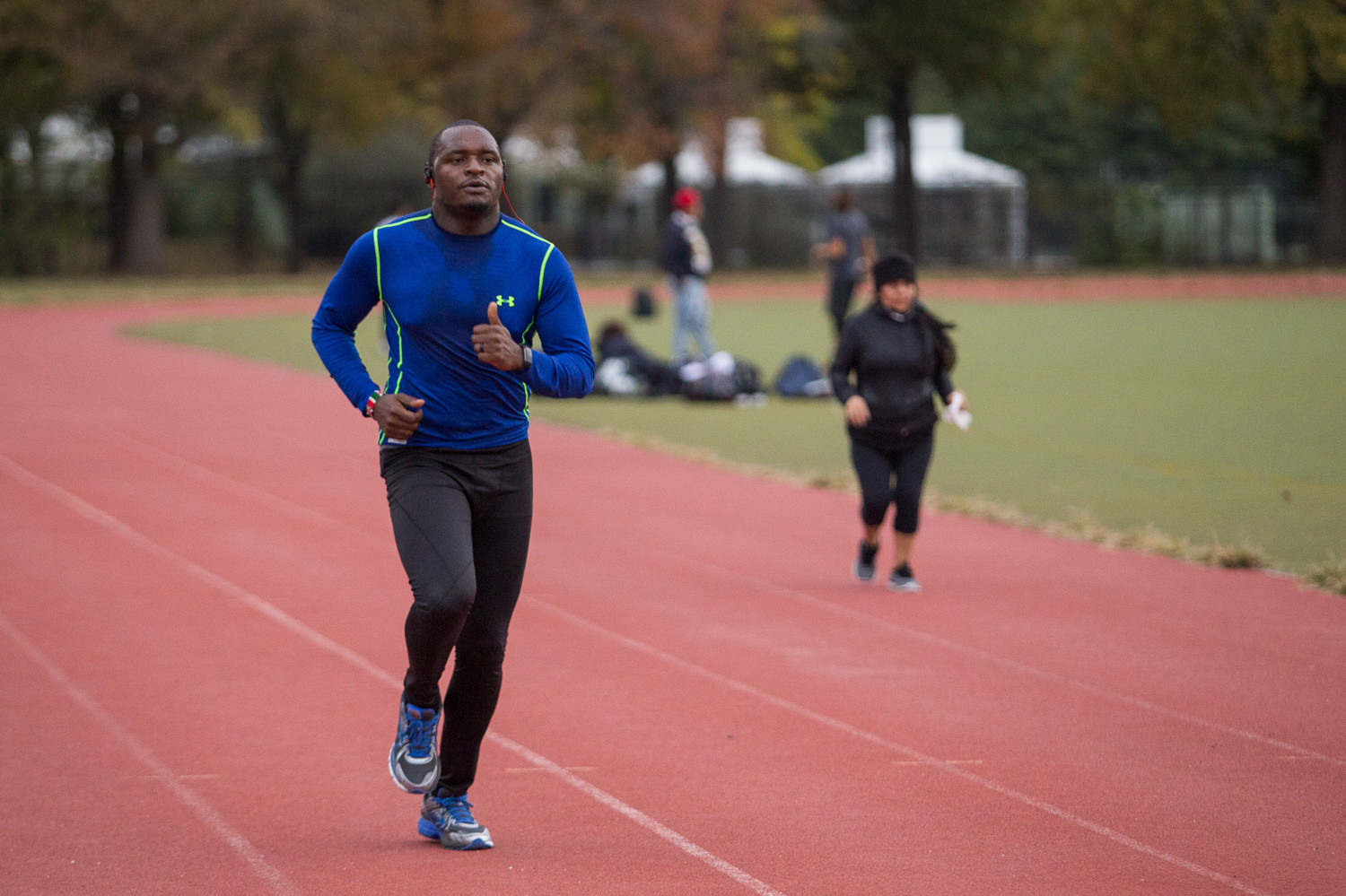 Riverdale resident Filex Mwake trains for the New York City Marathon at the track at Van Cortlandt Park two days before the race. This was his first marathon, which he completed in four hours and six minutes.