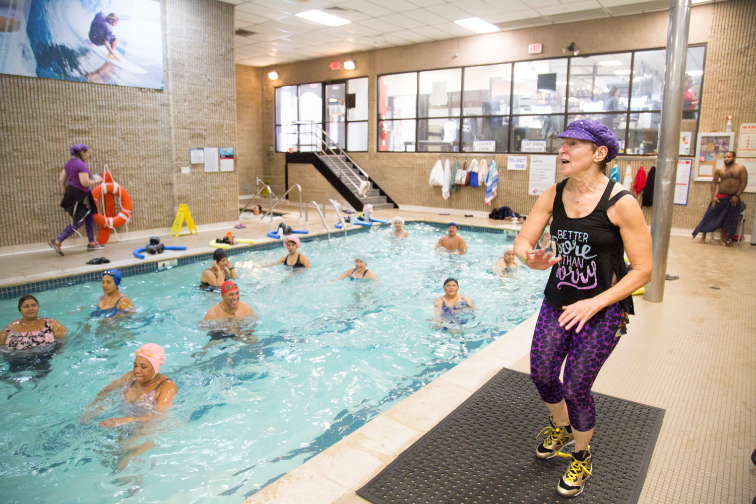Aquatic fitness instructor Jacqueline Gikow leads a three-hour class during World Aquathon Day on Nov. 11 at 24 Hour Fitness. Gikow brought the event to the 298 W. 231st St., location two years ago to celebrate aquatic fitness. Proceeds go to the Memorial Sloan Kettering Cancer Center.