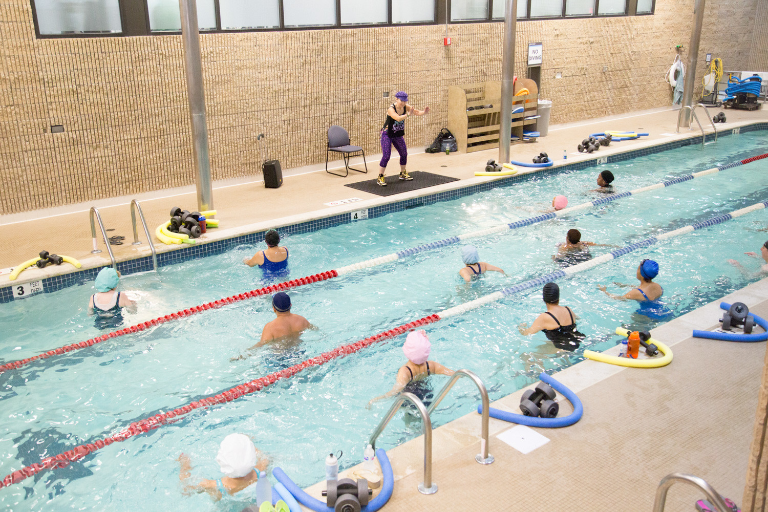 Jacqueline Gikow, an aquatic fitness instructor at 24 Hour Fitness, leads a three-hour class during the annual World Aquathon Day on Nov. 11. The event is celebrated in 79 other countries to promote aquatic fitness.