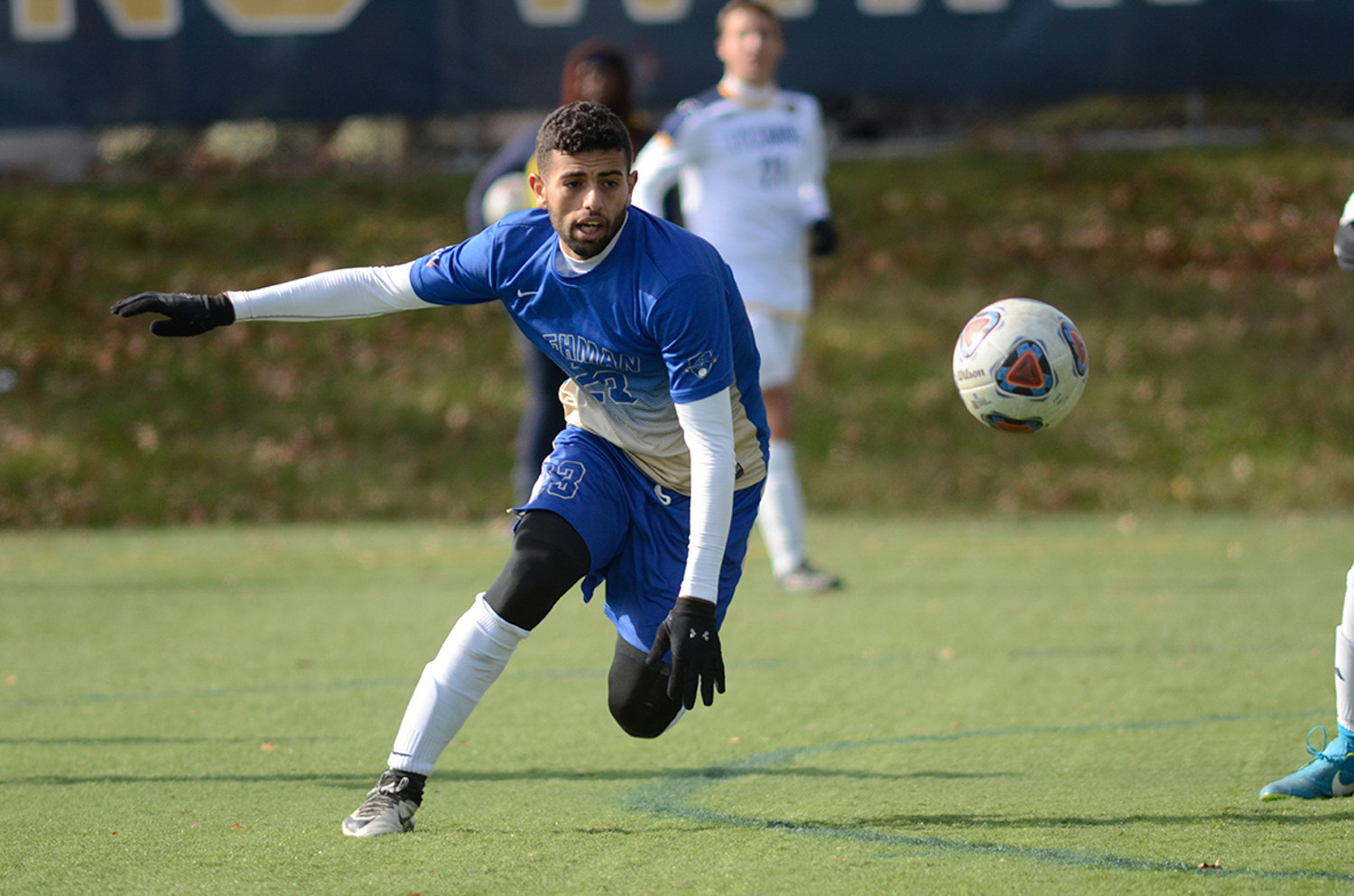 Lehman's Salh Alzubidi scrambles for a loose ball in last week's NCAA Tournament game at Lycoming College.