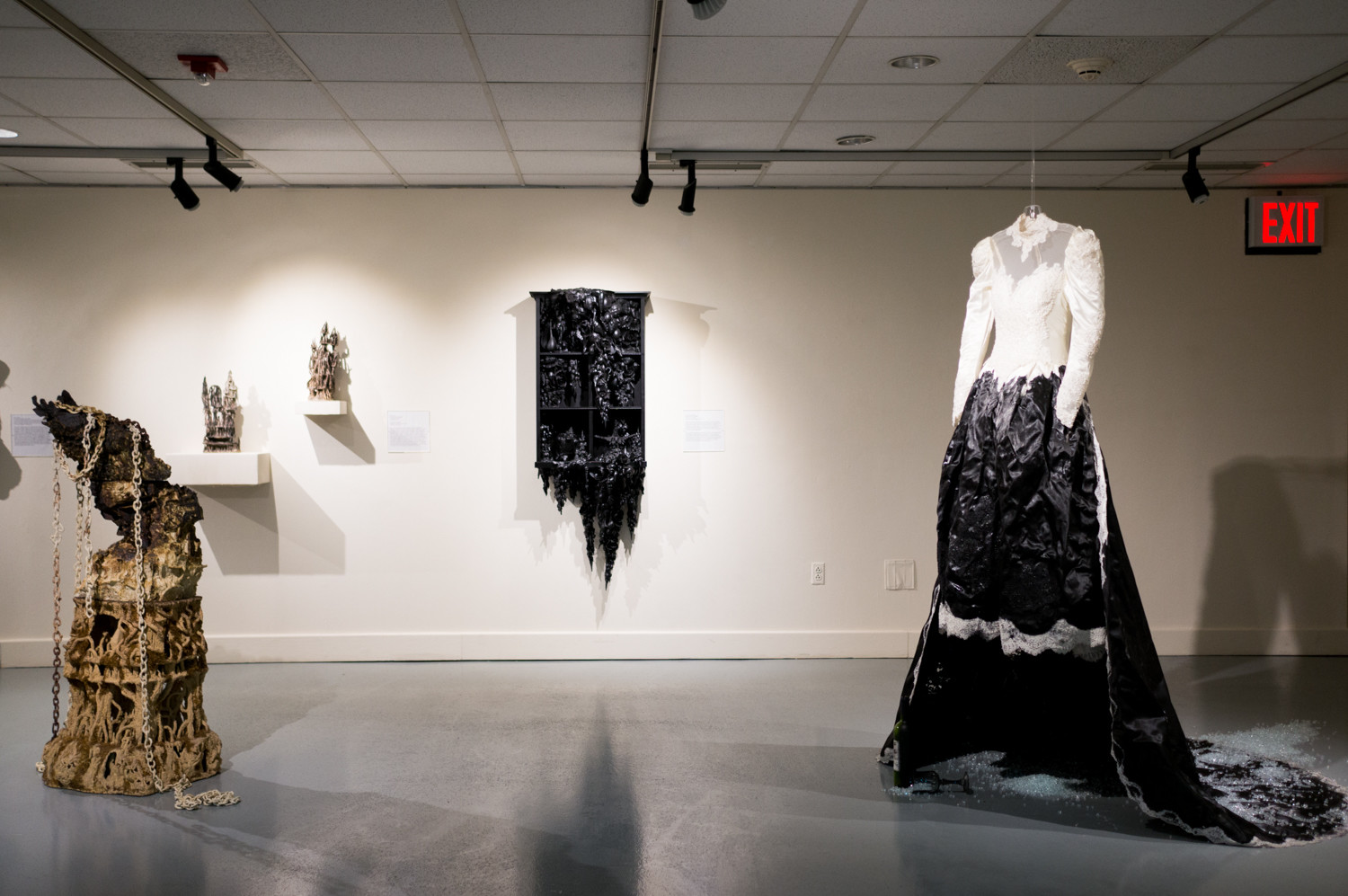 The artist Jeffrey Ampratwum created the sculpture 'Untitled' specifically for the exhibition 'It Was a Dark and Stormy Night' at Lehman College. The exhibition brings together gothic-themed artwork by 34 artists and is on display through Feb. 10.