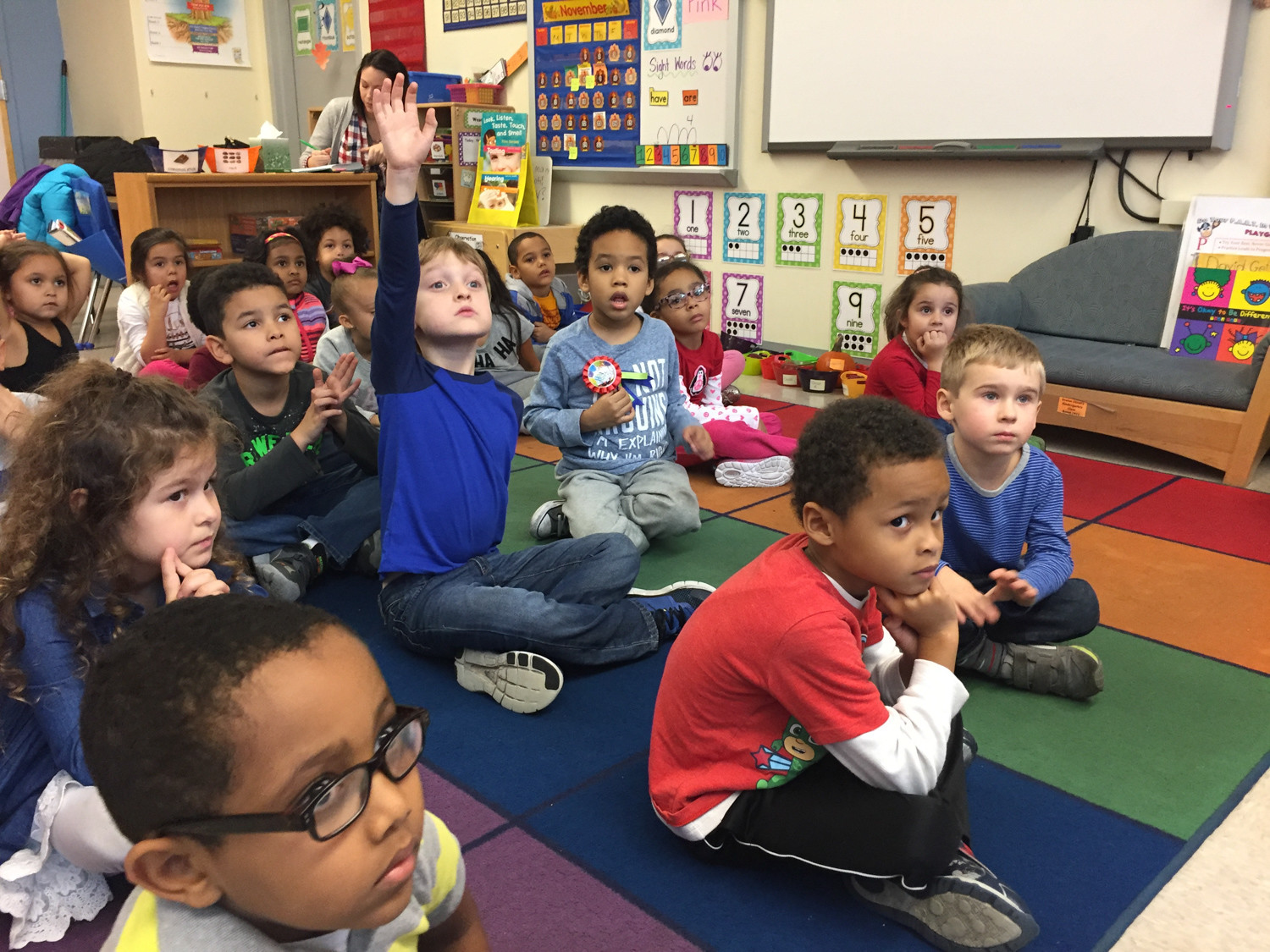 Kindergarten students at P.S. 344 AmPark Neighborhood School talk about how to have a happy class as part of its 'The Leader in Me' program. The goal is to develop leadership qualities, and is based on the book 'The Seven Habits of Happy Kids' by Stephen Covey.