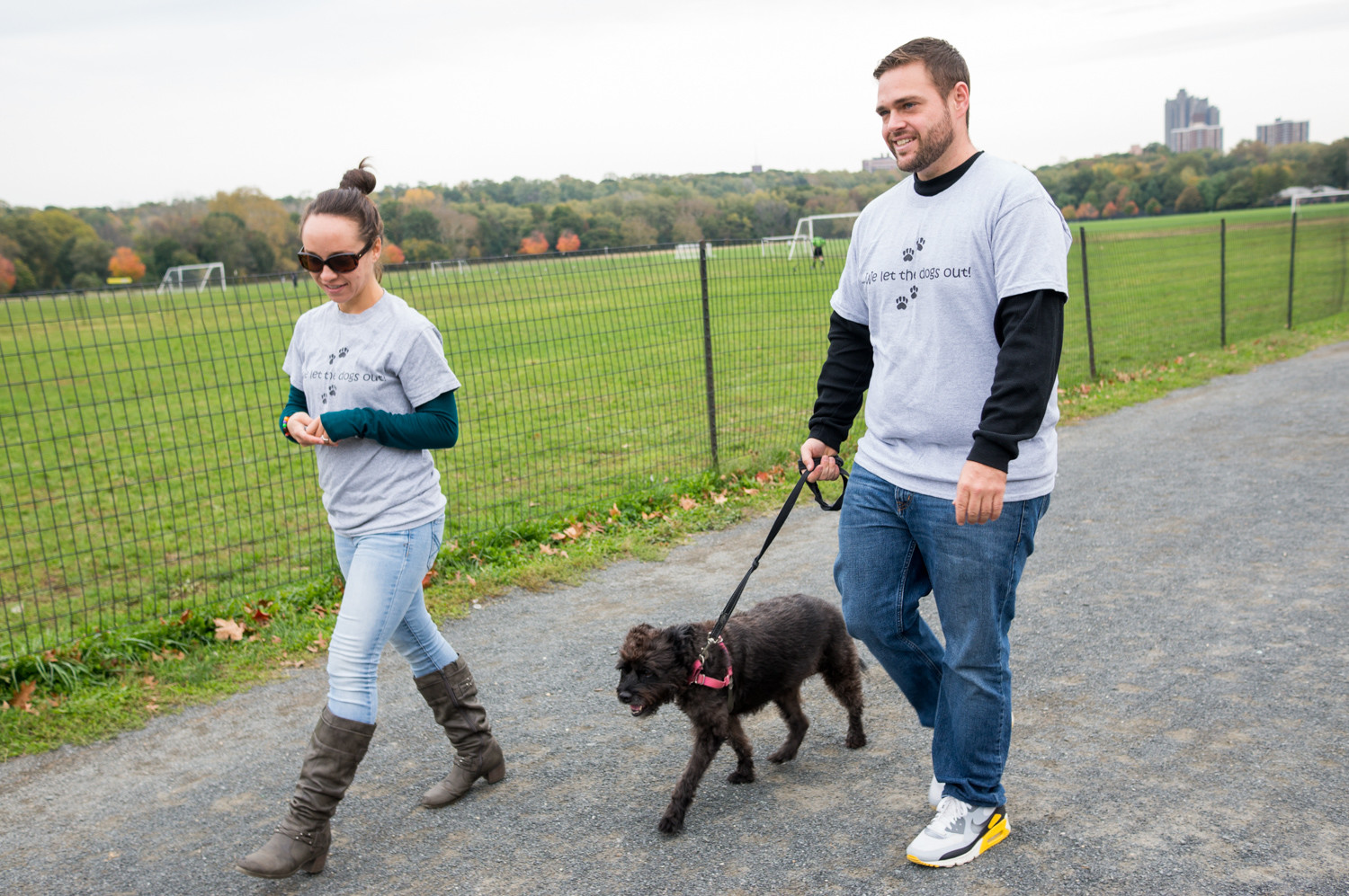 Leslie Centofanti and Chad Goldman offer GPS tracking as part of their dog walking services. They use an app called Pet Check, which allows dog owners to check on the length, location and duration of their dogs' walks.